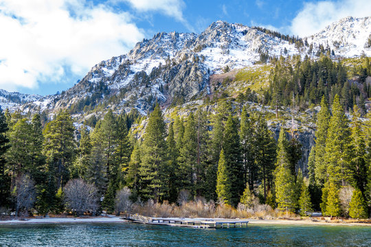 Mountain covered by snow in south lake tahoe