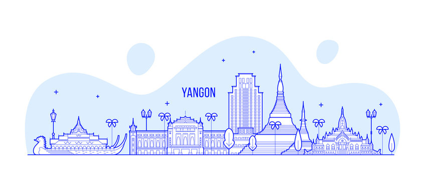 Yangon Rangoon skyline Myanmar city vector linear