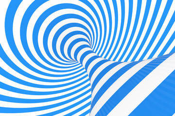 Swirl optical 3D illusion raster illustration. Contrast spiral stripes. Geometric winter torus image with lines, loops.