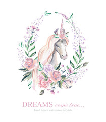 Watercolor illustration. Vignette with magic unicorn in flowers.