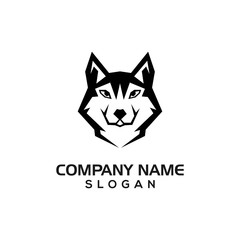 Silhouette husky dog for logo template or design resource.