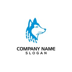 Husky dog with digital symbol for data or technology logo template.