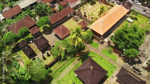 Flying with drone over balinese traditional temple  4K aerial view