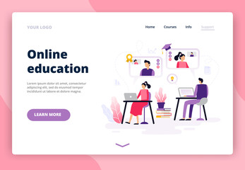 Online education. Women and men working with a laptop, watching video and learning. Background or banner for site or landing page with a distance course theme. Vector illustration