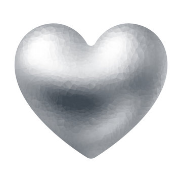 Vector silver polygonal heart isolated on white background