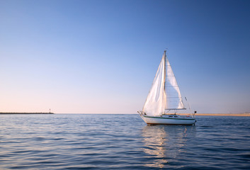 Sailboat in Channel Islands harbor in Oxnard California United States