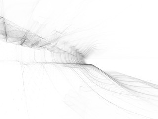 Abstract high key background element. Dynamic 3d composition of curves and grids. Detailed fractal graphics. Data science and digital technology visualization.