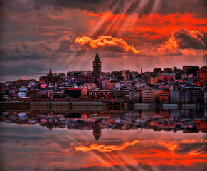 Magic Sunset in Istanbul, Turkey. View of the Galata Tower