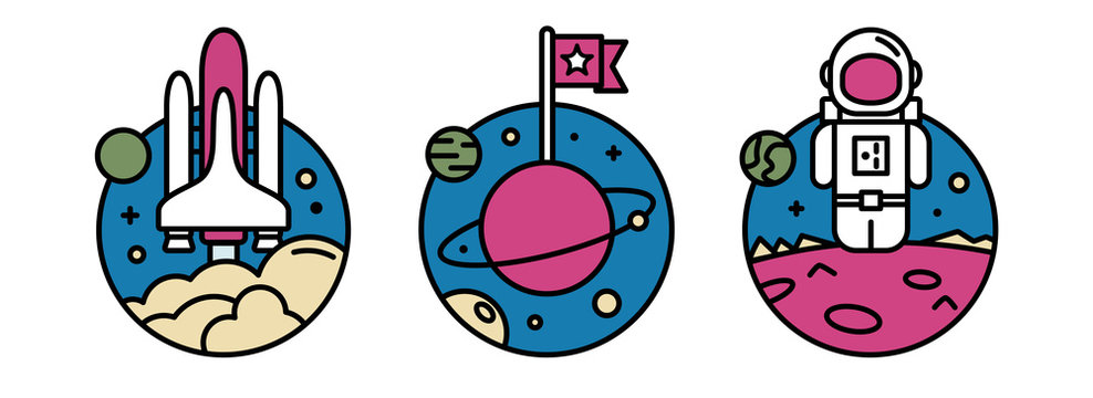 Space detailed icon set. Starting rocket ship, planet with the flag and astronaut on the planet. Trendy modern flat design template vector illustrations pack