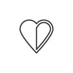 Halved heart line icon. linear style sign for mobile concept and web design. Abstract heart outline vector icon. Love and Valentine's Day symbol, logo illustration. Pixel perfect vector graphics