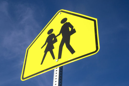 The school zone sign.