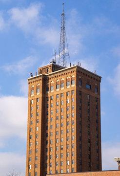 The brick skyscraper in Aurora, Illinois.