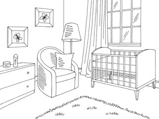 Baby room graphic black white home interior sketch illustration vector