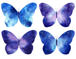 Set of Watercolor galaxy butterflies isolated on the white background.