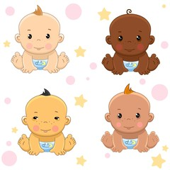 Icons set of boys children of different colors and nationality and ethnic group for children and design. A child with black skin, yellow and narrow eyes, white and bronze.