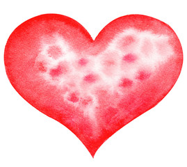 Watercolor hand painted red heart. Symbol of love.