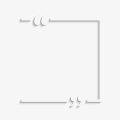 Blank template vector quote. Square with bracket.