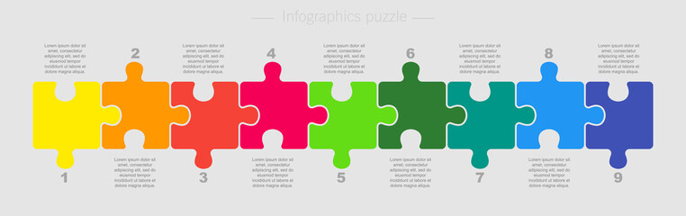 Puzzle Nine Pieces Part for Business Presentation.