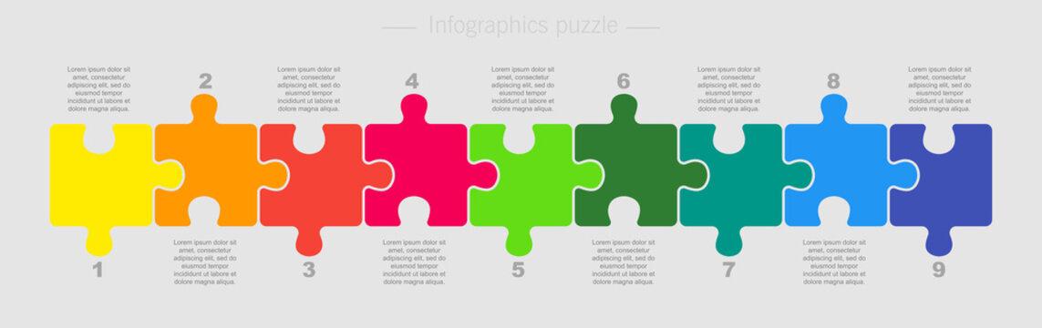 Puzzle Nine Pieces Part for Business Presentation.