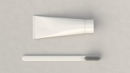 Blank white tube of toothpaste and toothbrush