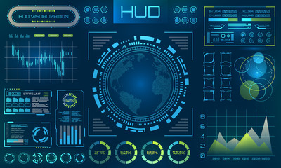 Futuristic HUD Background. Infographic or Technology Interface for Information Visualization