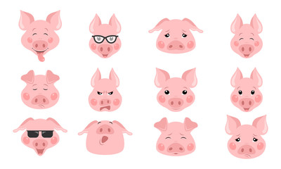 Collection of funny pig emoticon characters in different emotions.  set