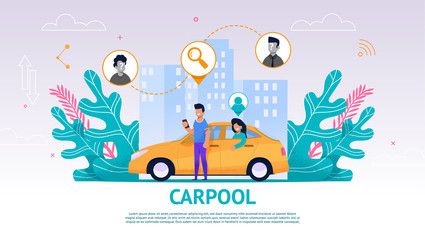 Illustration Guy and Girl in Yellow Car, Carpool