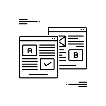 Black line icon for ab testing