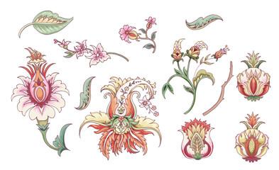 Set of tropical fantasy flowers