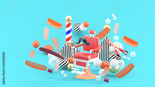 572049696 Barber chair and barber accessories among the colorful balls on the blue  background.-3d