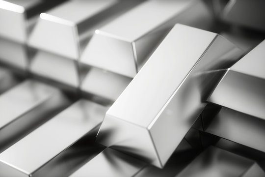 A stack of Bank silver bars close up. 3d rendering