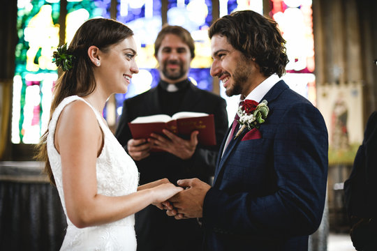 Bride and groom at the altar