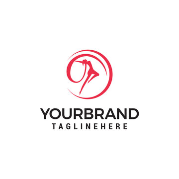 Dance woman Logo Template design