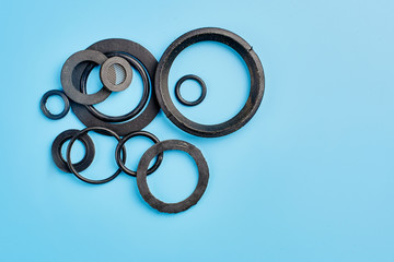 Sanitary round gaskets on blue background