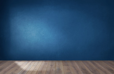Photo sur Aluminium Mur Dark blue wall in an empty room with a wooden floor