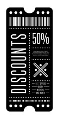 Elegant black coupon with 50% discount offer and barcode