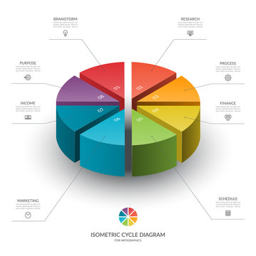 Isometric cycle diagram for infographics. Vector chart with 8 parts, options. Can be used for graph, report, presentation, brochure, web design.