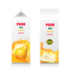 Pear juice package design. White carton pack box with juice splash realistic vector illustration