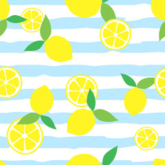 Seamless pattern with lemons on stripped background. Vector illustration in flat style