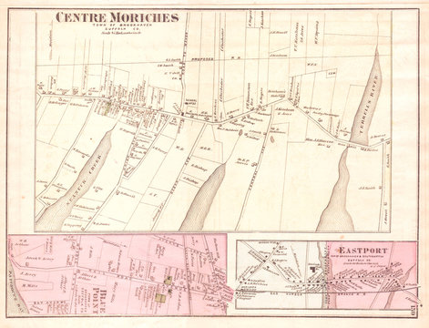 1873, Beers Map of Moriches, Eastport and Southampton, Long Island, New York