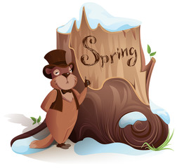 Groundhog Day. Marmot announces early arrival of spring