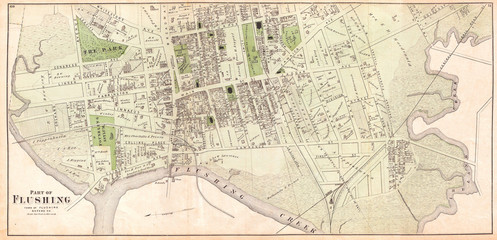 1873, Beers Map of Part of Flushing, Queens, New York City