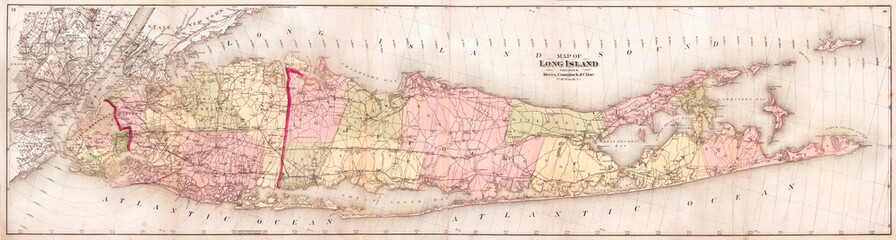 Fototapete - 1873, Beers Wall Map of Long Island, New York