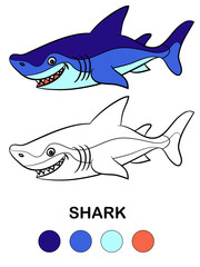 Coloring book for children, cartoon animal Shark