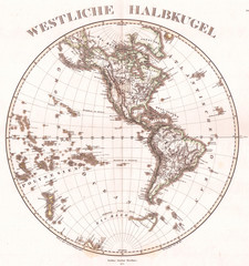 Fototapete - Old Map of the Western Hemisphere 1873, Stieler