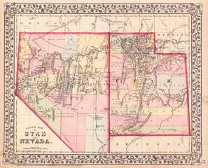 1872, Mitchell Map of Utah and Nevada