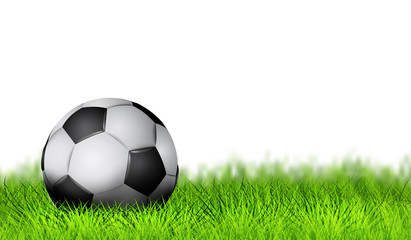 Realistic Soccer ball as Simbol football on the play field. Soccer ball design on green grass background. Cover banner, poster, typography design. Vector illustration. EPS 10