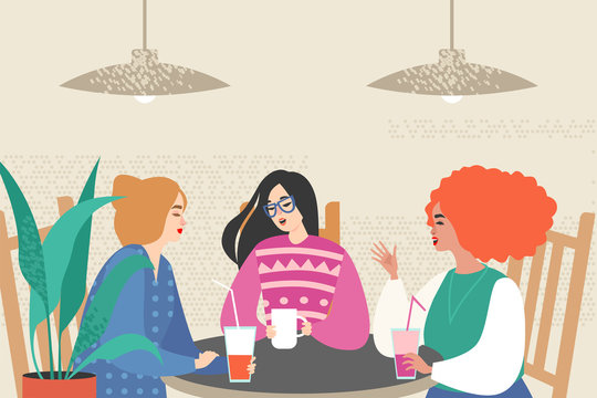 Vector illustration with three cute girls siting in a cafe