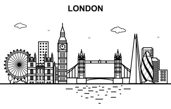 London City Tour Cityscape Skyline Line Outline Illustration