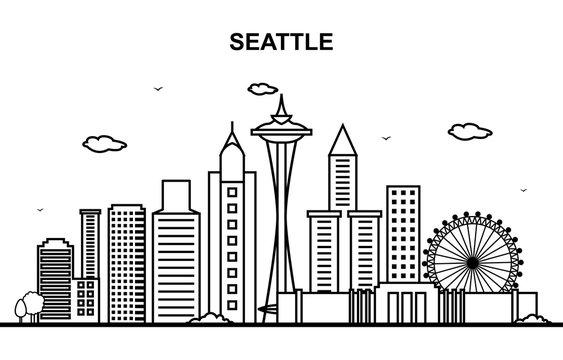 Seattle City Tour Cityscape Skyline Line Outline Illustration